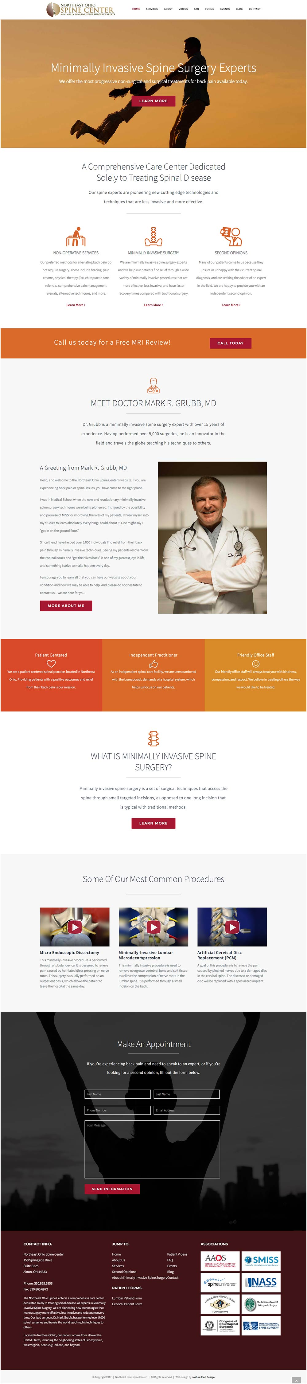 Northeast Ohio Spine Center Website Project 1